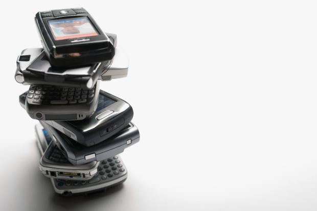 Stack of mobile telephones