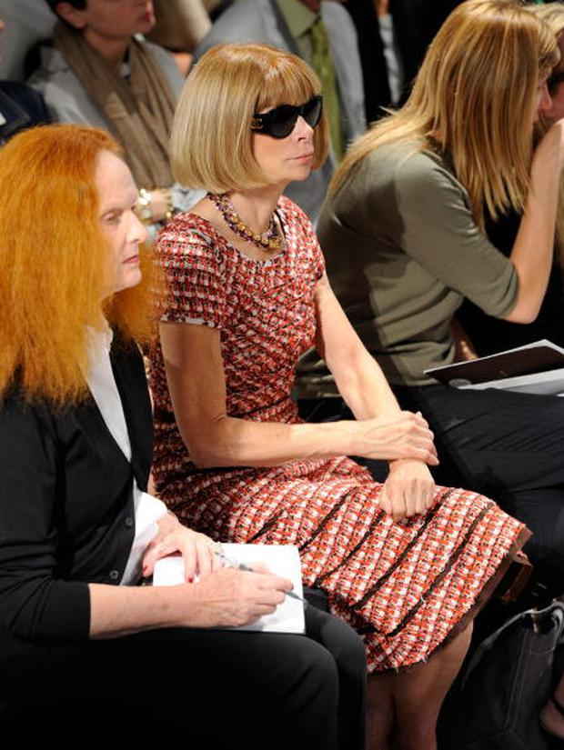 NEW YORK - SEPTEMBER 16: Creative director of Vogue Grace Coddington (L) and editor-in-chief of Vogue Anna Wintour attend the Calvin Klein Spring 2011 fashion show during Mercedes-Benz Fashion Week at 205 West 39th Street on September 16, 2010 in New York City. (Photo by Fernanda Calfat/Getty Images for IMG)