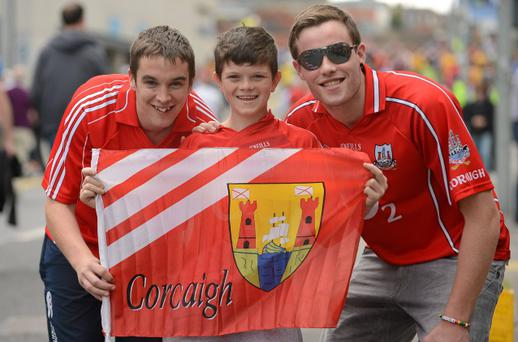 26 August 2012; Supporters Paul O'Hea, Patrick Burke and Patrick Kirby, from West Cork, ahead of the game. GAA Football All-Ireland Senior Championship Semi-Final, Cork v Donegal, Croke Park, Dublin. Picture credit: Oliver McVeigh / SPORTSFILE