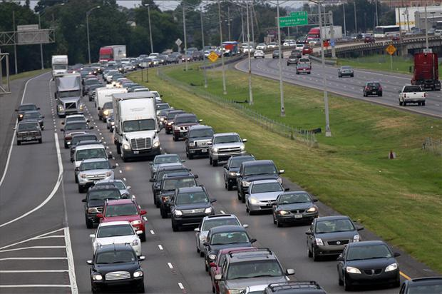 A line of traffic extends down Interstate 10 heading towards Baton Rouge, as many residents leave the New Orleans area in anticipation of tropical storm Isaac