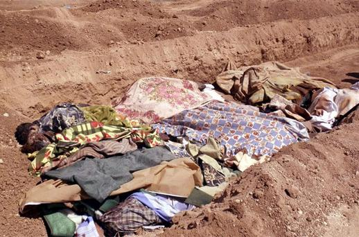 Image purporting to show people killed by shabiha, pro-government militiamen, being buried in a mass grave in Daraya