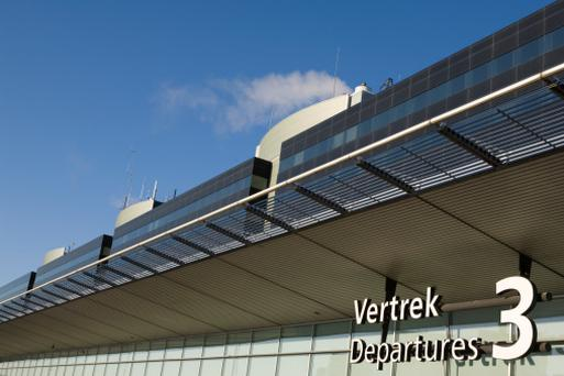 Exterior of a departure hall at Amsterdam Airport Schiphol