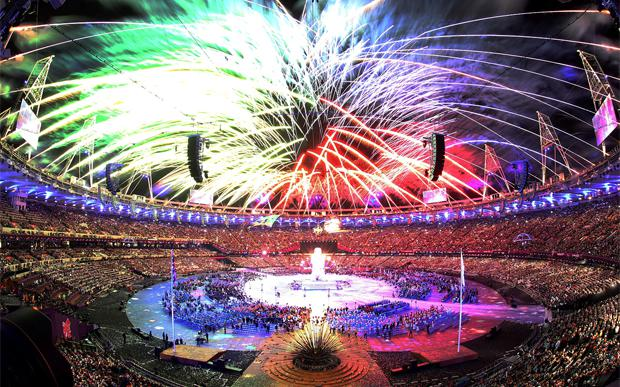 Fireworks during the opening ceremony at the Olympic Stadium. Photo: PA