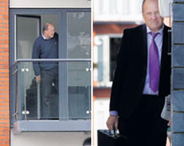EXILED: Ivan Yates, left, on the balcony of his apartment in Wales. Yates, also pictured right, tells the 'Sunday Independent', in an exclusive interview, how he has no intention of coming back to Ireland. Photos: David Conachy