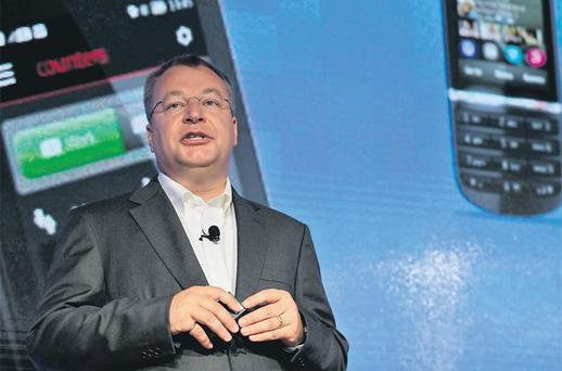 Nokia chief executive Stephen Elop speaks at the launch of the new Lumia 920 phone with Microsoft Windows 8 operating system at an event in New York yesterday. Photo: Reuters