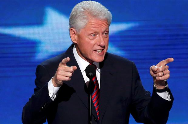 Former President Bill Clinton addresses delegates during the second session of the Democratic National Convention