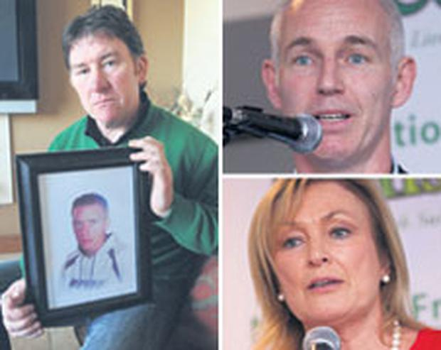 Left, grieving father Peter Roche with a photo of his son, Colin. Above and below, Ray D'Arcy and Mary Kennedy spoke at the suicide conference.
