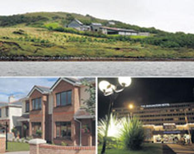 THE DEVELOPING TREND: Properties which are sparking interest in the market, clockwise from top, Nadim Sadek's house on Inish Turk Beg in Clew Bay, Co Mayo; The Burlington Hotel, Dublin; and Moyglare Hall in Maynooth, Co Kildare. Photos: Tony Gavin/Collins