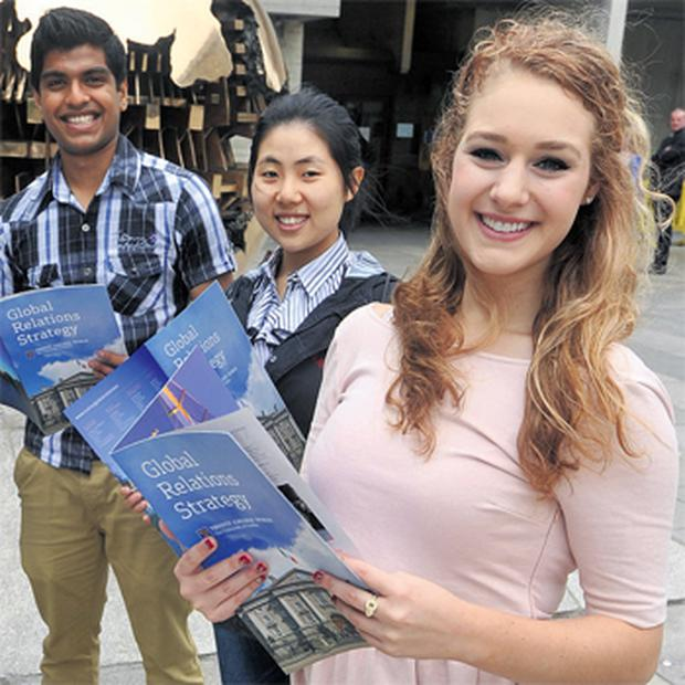 TCD students (from right to left) Marielle Grigsby Rocca from California, Phoebe Wen Yi Sun from China and Abhishek Wilson from India at the launch of the college's Global Relations Strategy, which aims to increase Trinity's global reach and bring in more international students