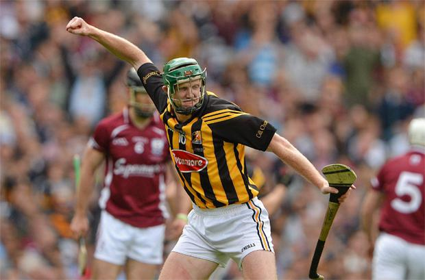 Henry Shefflin, Kilkenny, celebrates scoring a point to make the scores 1-10 for Galway to 0-13 for Kilkenny in Sunday's All-Ireland final