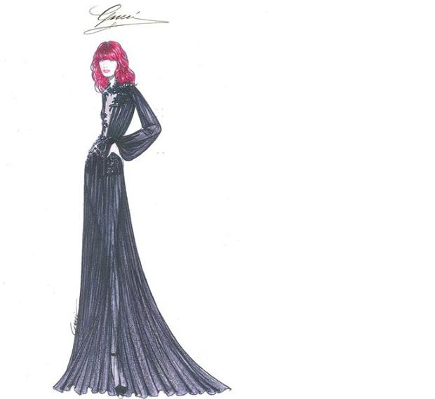 An illustration of one of the tour outfits Gucci have designed for Florence Welch.