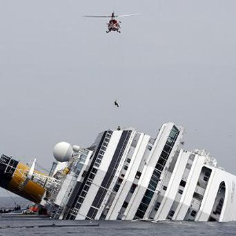 The grounded cruise ship Costa Concordia off the Tuscan island of Giglio.