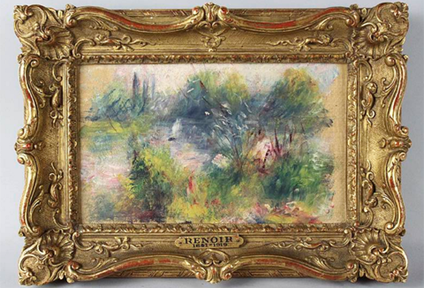 Painting No 24349 turns out to be Renoir's painting 'Paysage Bords de Seine', which translates to 'Banks of the River Seine'. It dates to about 1879 and measures 6ins by 10ins.