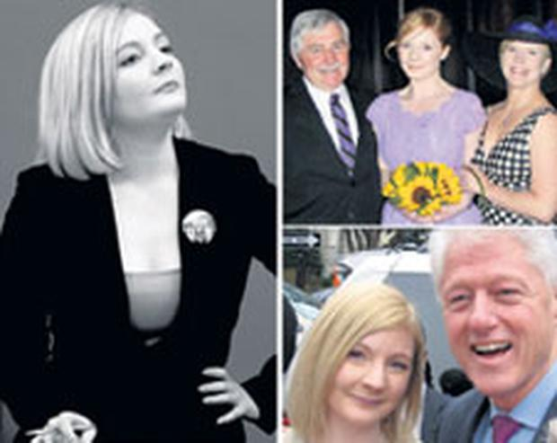 SHATTERING LOSS: Clockwise from main: Kate Fitzgerald had a promising career as a PR professional; Kate with her father Tom and mother Sally; Kate with former US president Bill Clinton