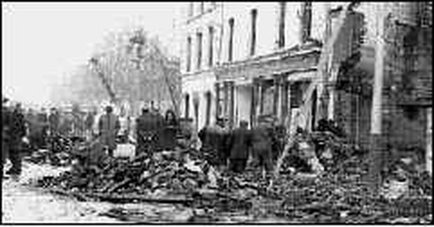 Crowe Street after the bombing in 1975