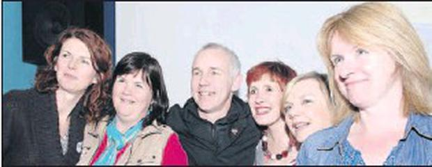 Jane McEvoy (left), Sarah Mallon, Mary Woods, Lorraine Hughes and Elizabeth McDaid meet Ray D'Arcy during his Discover Ireland Feel Good tour held in Carlingford.