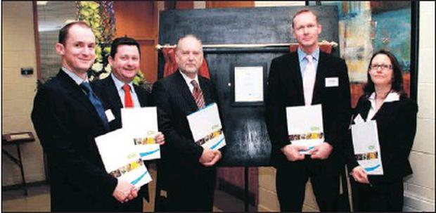 Dr Tim McCormack ICBC, DkIT President Denis Cummins, Martin Lyons, Colin Coates, Dr Mary Earle, ICBC at the launch of the Ion Channel Biotechnology Centre at DkIT.