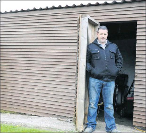 Sean Murray at the shed at his home in Lurgankeel, Kilcurry where he had his goods stored.