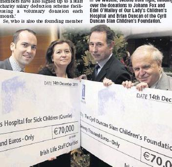 Sé Weston, second from right, handing over the donations to Johann Fox and Edel O'malley of Our Lady's Children's Hospital and Brian Duncan of the Cyril Duncan Sian Children's Foundation.
