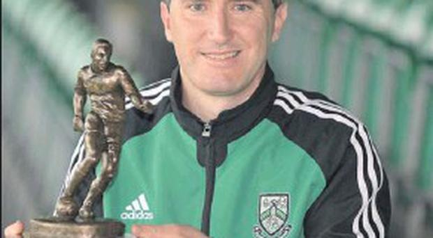 Bray's Jason Byrne who picked up the Player of the Month award for May last season