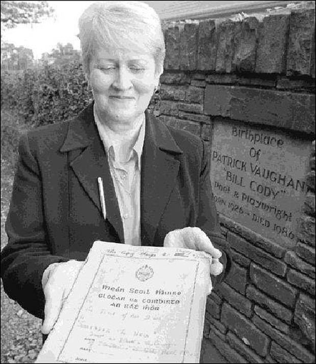 Kathleen Buckley, sister of the late Bill Cody, Dromagh with a copy of his unpublished play 'Surrender to Hell' which she discovered only recently after reading an article in The Corkman (See story on left).Pic: Patrick Casey