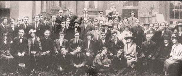 Copy of a photograph of the wedding party at the marriage of Tom Barry Leslie Price, taken at the rear of Vaughan's Hotel, Parnell Square; left to right : Seated on ground – Dick Cotter, Bob Price, Eoin Price. Phyllis Ryan (Mrs Sean T Kelly), Gearoid...