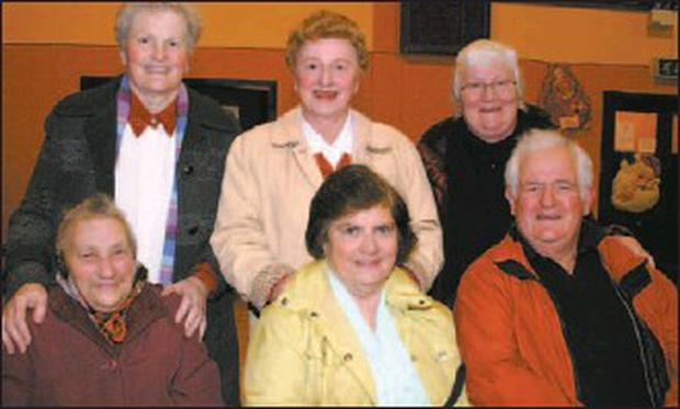 Enjoying the festive atmosphere at the Cullen Young at Heart Christmas party were Cathleen O'Keeffe, Rosaleen Veard, Paudie O'Keeffe, Kate Mary Cremin, Hanna Mary O'Leary and Nora Mary O'Sullivan. Photo by Sheila Fitzgerald