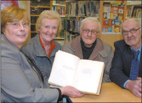 Pictured at the presentation of the No 19 first edition signed copy of Ulysses by James Joyce as part of the Golden Collection to Macroom Library were County Librarian Ruth Flanagan and Peter Golden Commemoration Committee members Terry Kelleher, Michael O'Connor and Pat Kelleher.