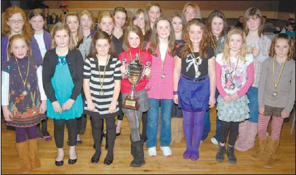 The victorious Millstreet under-11 camogie team at their annual social in the Wallis Arms Hotel.