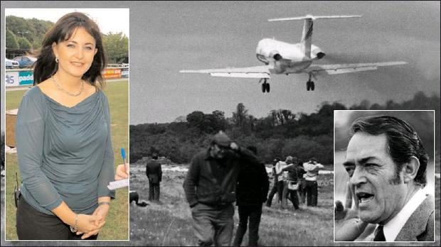 Captain Ruben Ocana, inset right, taking off from ' Mallow Airport' in 1983 and his daughter Marianne, inset left, who touched down at the racecourse this week.
