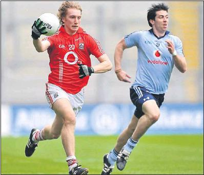 Denis O'Sullivan, Cork, in action against Michael Daragh McAuley, Dublin during last Sunday's National Football League Semi-final in Croke Park Credit: PICTURE: DAVID MAHER / SPORTSFILE