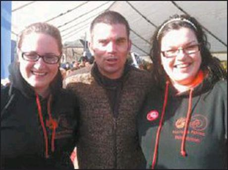 Boxer Bernard Dunne with Mitchelstown Macra members Aisling Lewis ( chairperson) and Clodagh Carey ( PRO) at the Truly Irish Breakfast in Mitchelstown on Saturday morning last.