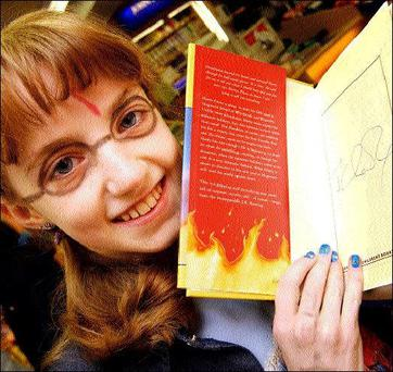 Evanna Lynch from Termonfeckin who was let out of hospital to get her copy of the new Harry Potter book. Eason's kindly presented her with a signed copy of the book. Picture: Paul Mohan.