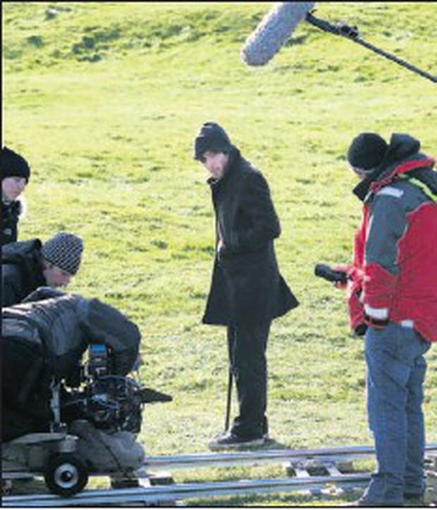 Irish actor Cillian Murphy filming in Clogherhead for the movie Perrier's Bounty. Credit: Paul Connor