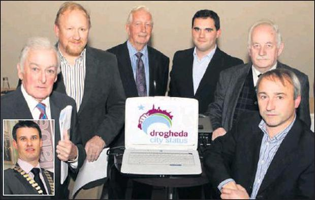 Launching the Drogheda City status website were Vincent Hoey, Peter Monahan, Pat Carr, Cllr Kevin Callan, Donnachadha MacRaghnaill and Niall Kierans. Inset, Chamber President Graham Hughes.