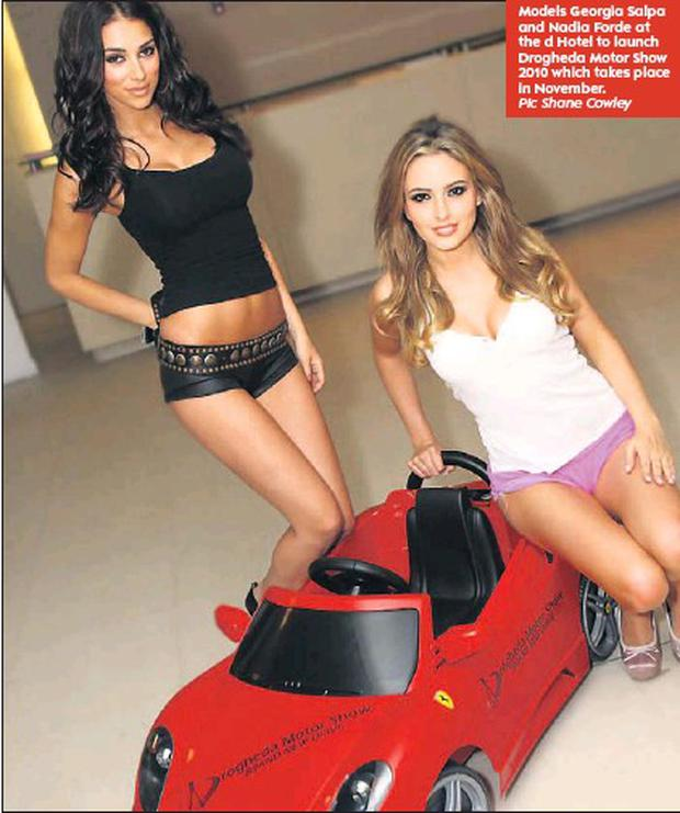 Models Georgia Salpa and Nadia Forde at the d Hotel to launch Drogheda Motor Show 2010 which takes place in November.