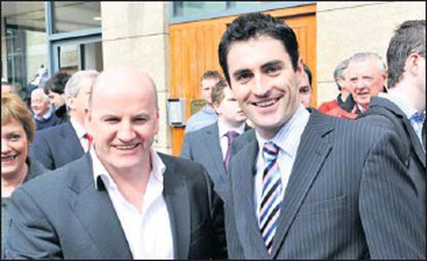 Is this the Fianna Fail ticket in Louth? Sean Gallagher with Senator James Carroll at the opening of his consititency office in Dyer Street, Drogheda earlier this year.