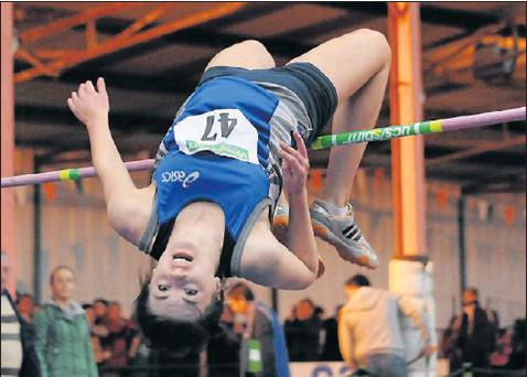 Rogers, St Peter's AC, in action in the Under-18 Girls High Jump during the Woodie's DIY Juvenile Indoor Championships at Nenagh Indoor Stadium. Credit: Picture: Barry Cregg/Sportsfile