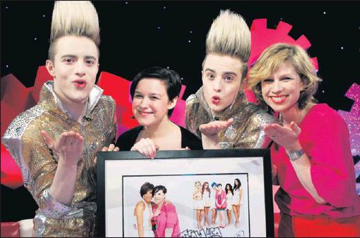 Lynsey Reilly from Shrewsbury Manor who featured on Jedward's 'OMG Jedward's Dreams Factory' Christmas Day TV special, pictuerd with the duo and stylist Sonia Lennon.