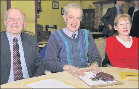 Bartle Landy (left), Tom Rice and Annie Haughey at the Age Friendly Business Forum meeting held in the Ardee Day Care Centre.
