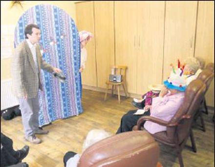 The interactive play 'Circus!' being performed at the Alzheimer Day Care Centre.