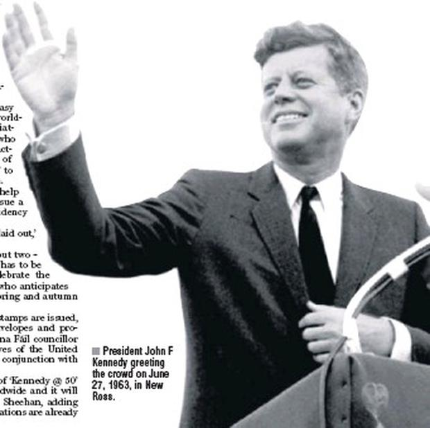President John F Kennedy greeting the crowd on June 27, 1963, in New Ross.
