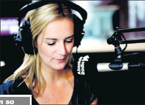 Wexford woman Maggie Doyle on air on Absolute Radio's breakfast show in London, where she has worked for the past two years.