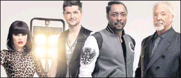 The Voice judges: Jessie J, Danny O'donoghue of The Script, Will.i.am and Tom Jones.