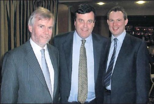 Rolestown National School principal, Cllr Tom Kelleher, Finance Minister Brian Lenihan and Cllr Darragh Butler (FF).