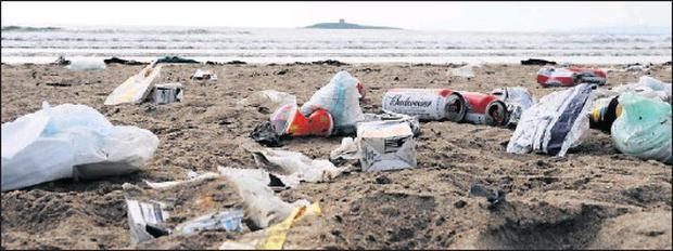 Skerries Beach left with rubbish strewn all over it following the busy bank holiday weekend.