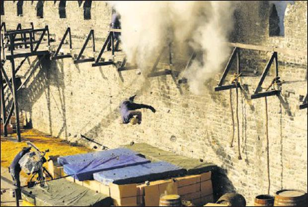 Stunt man Philippe Zone in an action shot from the TV series the Tudors which is being shot in Swords Castle