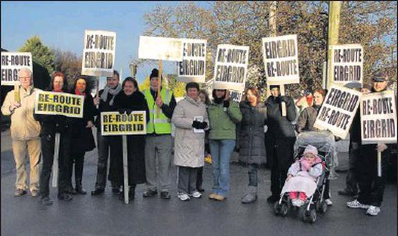 Rush residents with Cllr Clare Daly at a protest against Eirgrid works on Channel Road recently.