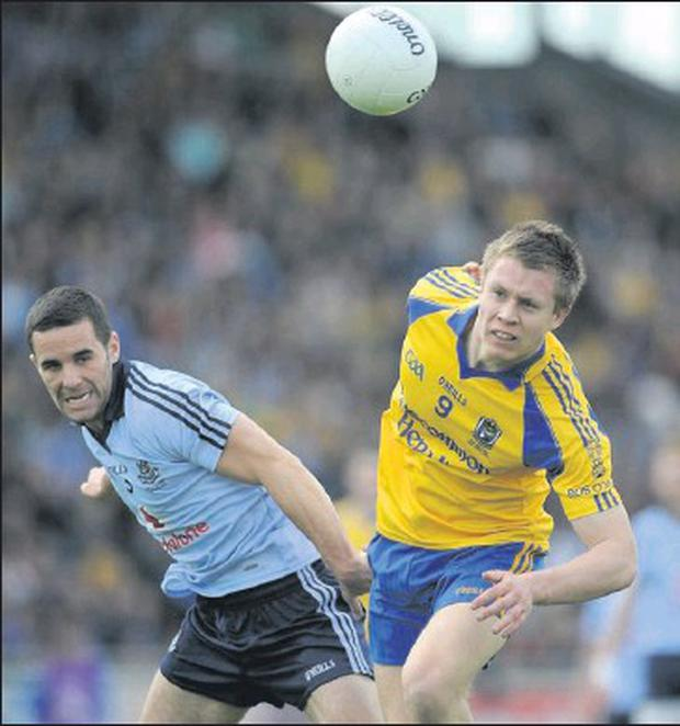 Kevin O'brien in action against Roscommon in the All-ireland Under-21 championship Final.
