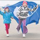 Celebrating with the Blue Flag on Portmarnock beach were Lauren (8) and Naomi (7) McCullagh from Portmarnock.